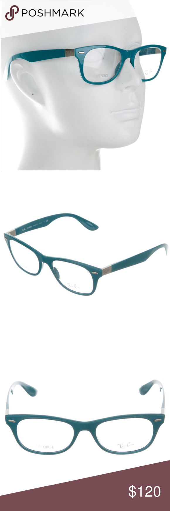 939d0bc9ff416 Ray-Ban Liteforce blue wayfarer eyeglasses Blue turquoise Ray-Ban square  shaped Liteforce eyeglasses with silver-tone hardware.