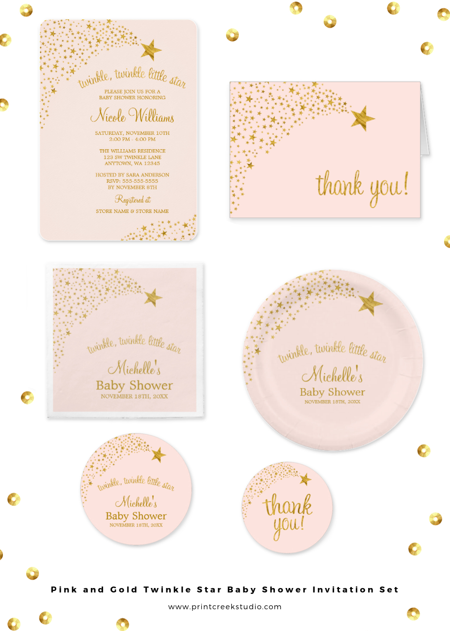 Pink and gold twinkle twinkle little star themed baby shower ...