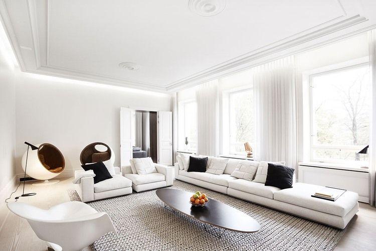 Witte woonkamer met indirecte verlichting | Living room BG ...
