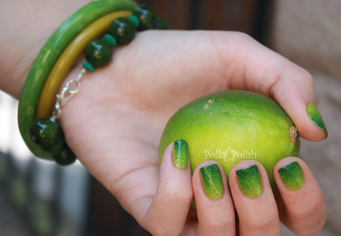 Green gradient nails {Sally Hansen Lickety-Split Lime, China Glaze ...
