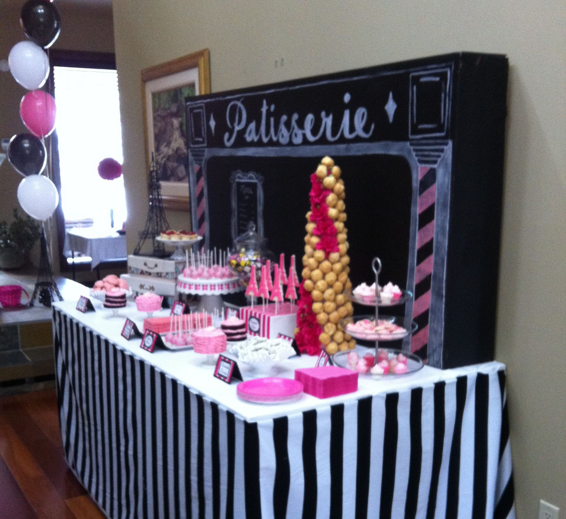 Dessert table paris themed bridal shower dessert table for Home sweet home party decorations