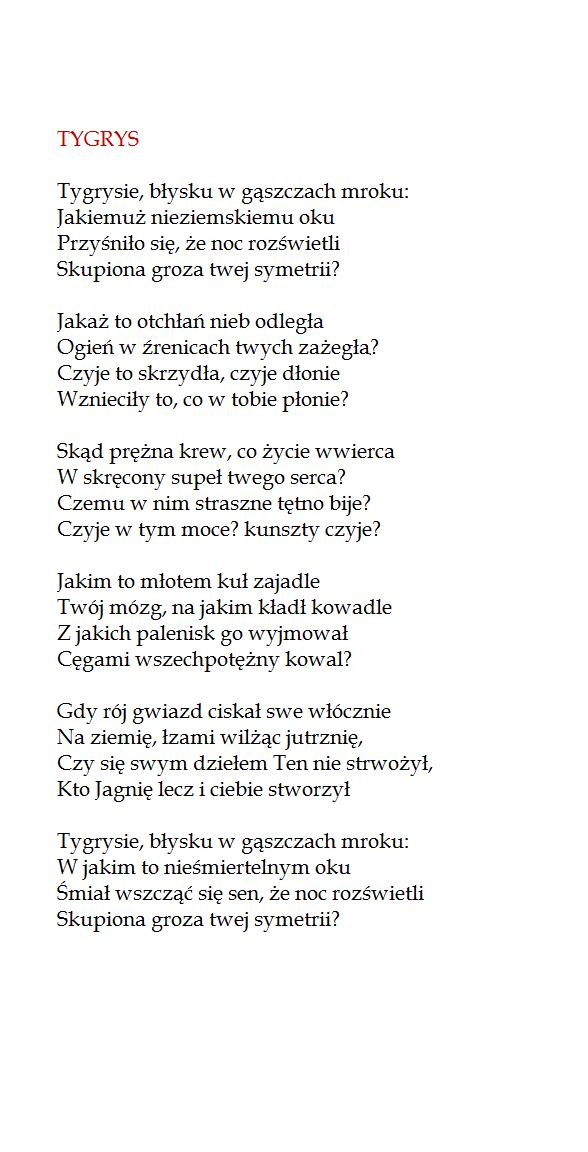 Tygrys William Blake By Stanislaw Baranczak Books