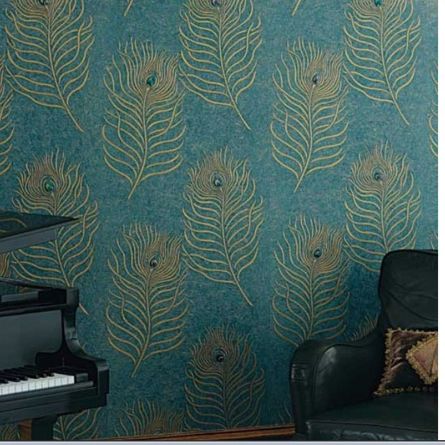Peacock Wallpaper It Looks Like With Embossed Or Beaded Feather Eyes Peacock Wallpaper Peacock Decor Dream Decor White blue gold peacock wallpaper