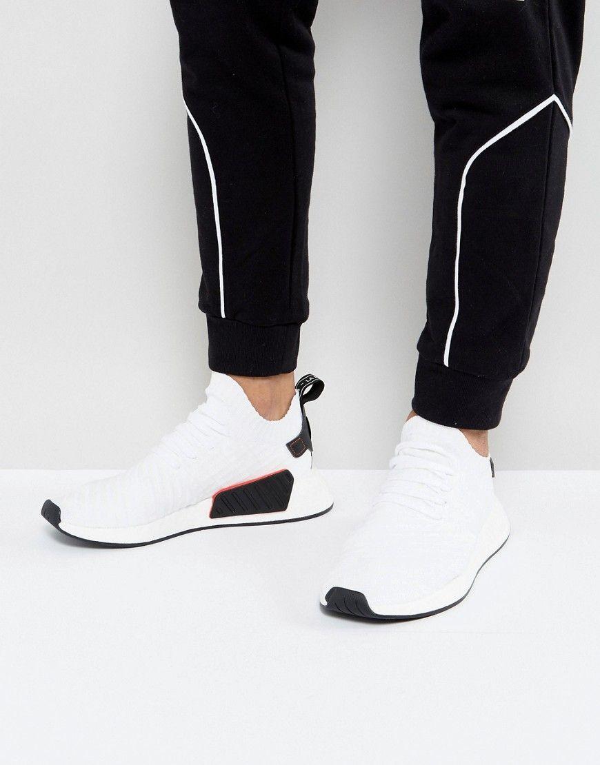 adidas originali nmd r2 primeknit scarpe bianche by3015 nero