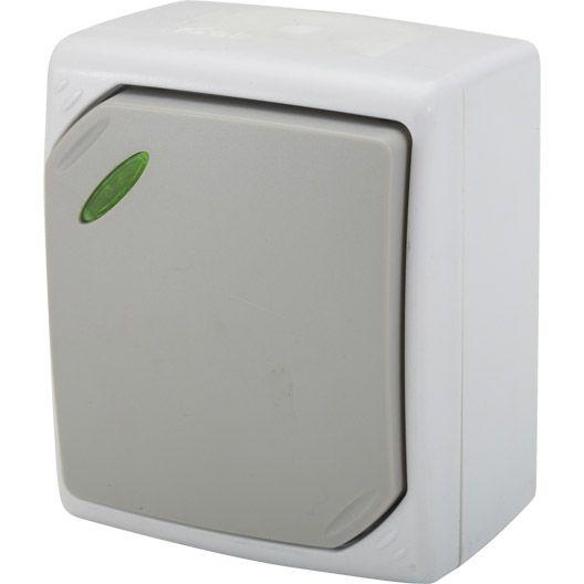 interrupteur va et vient voyant t moin ip 54 gris s rie nano electricite domotique. Black Bedroom Furniture Sets. Home Design Ideas