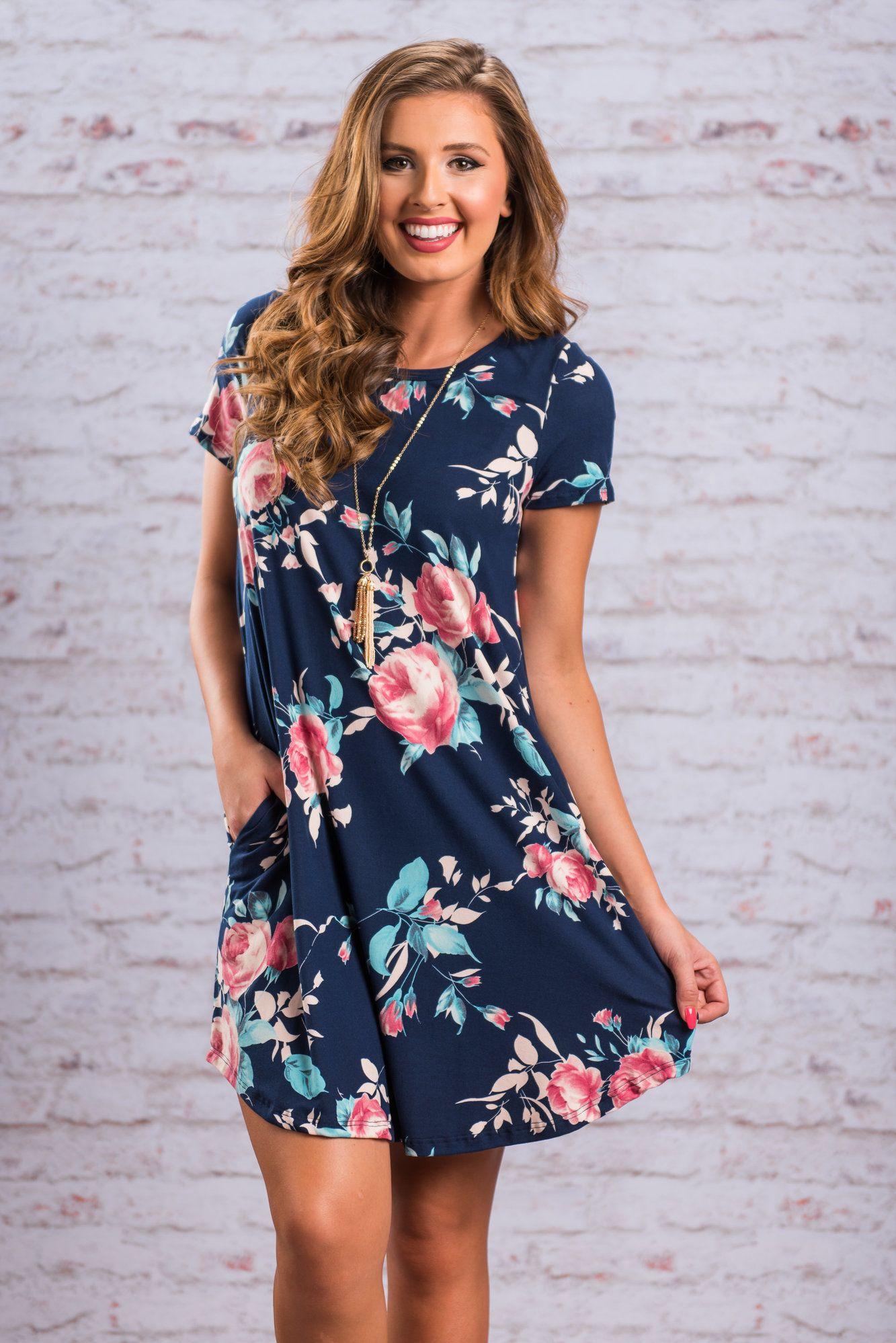 Navy Blue Dress T Shirt Dress Short Sleeve Dress Floral Summer Dress Modeshe Com Mini Dress Ladies Mini Dresses Floral Shirt Dress [ 1998 x 1333 Pixel ]