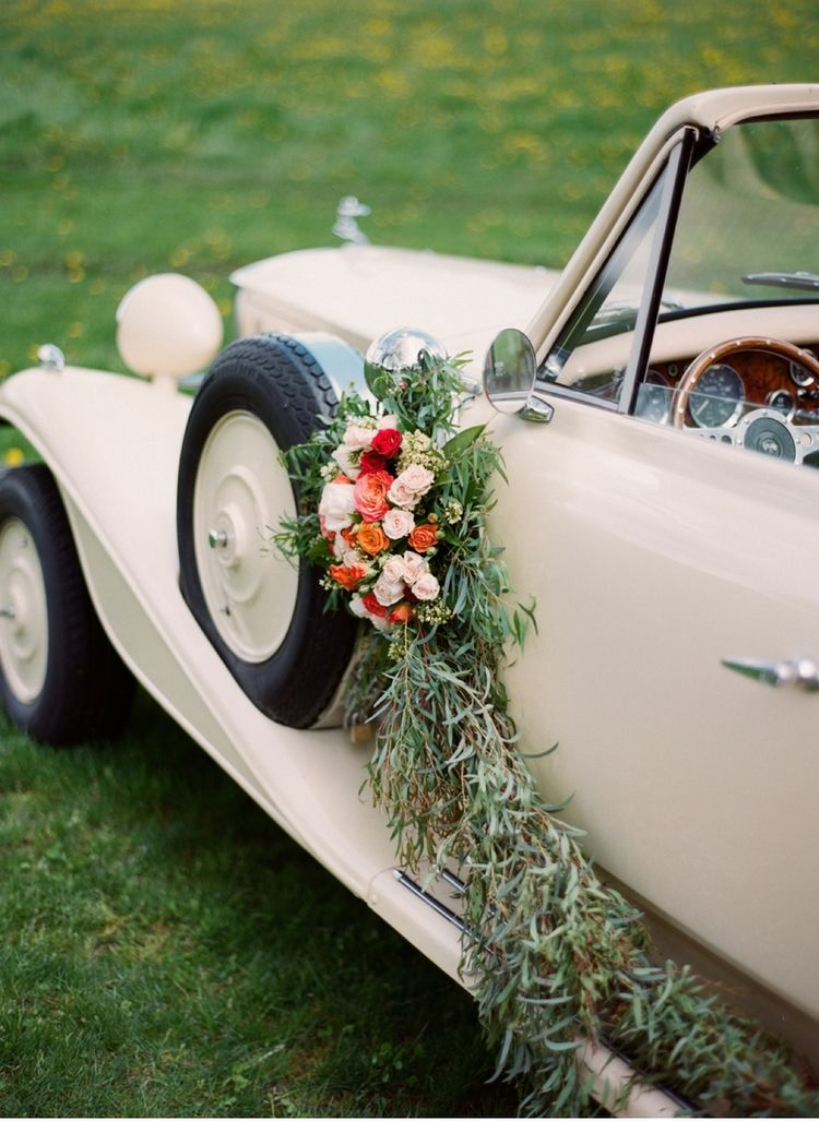 Vintage Car with Floral Decor | Wedding cars, Wedding and Cars