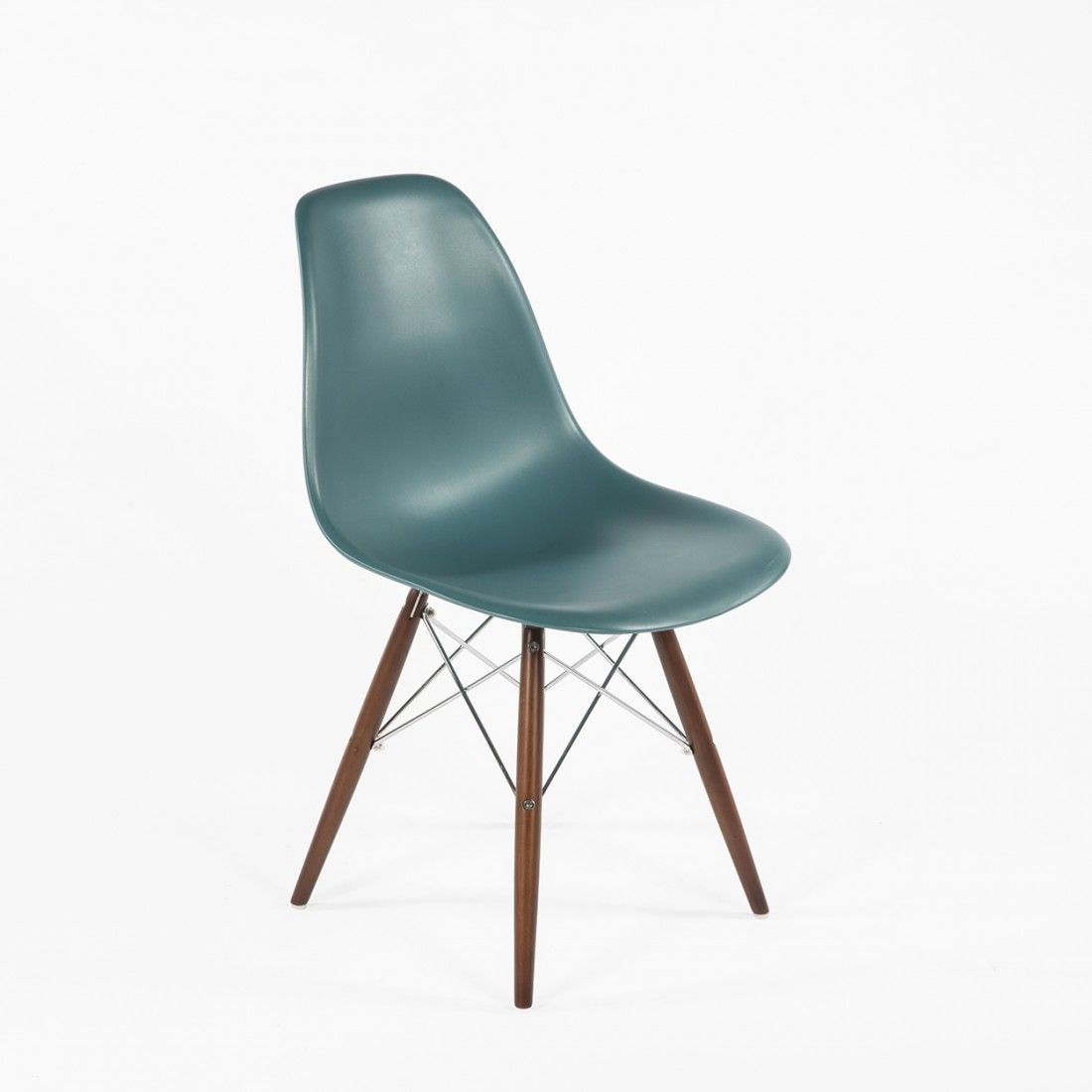 DSW Molded Plastic Dining Chair with Walnut Legs Navy Green Home