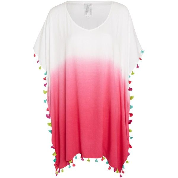 Seafolly Memphis Pom Pom Kaftan, Magenta (99 AUD) ❤ liked on Polyvore featuring tops, tunics, caftan tunic, rayon tops, summer tunics, rayon tunic and print top