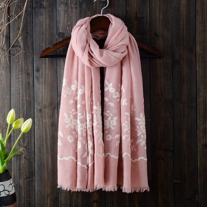 9c68b8738dcc9 2017 New arrival autumn winter plain flower embroidery design cotton muslim  hijab scarf dubai head scarf