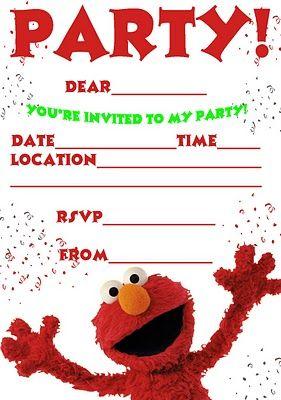 Printable Elmo Invitation