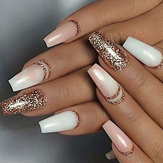 White Pink And Gold Nails Idea