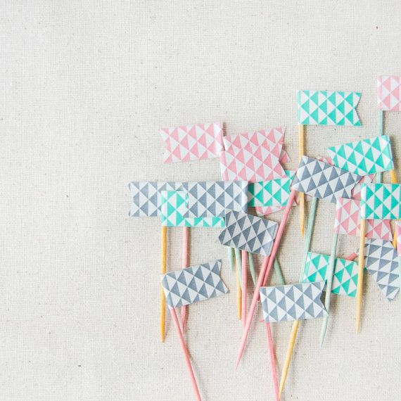 24 Pink, Teal & Grey Triangle Geometric  Washi Tape Cake Toppers, wedding, engagement topper, birthday topper, baby shower topper, tea party
