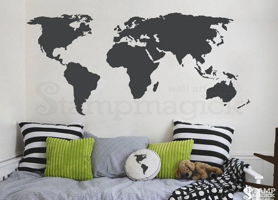 World map wall decal world map decal vinyl wall art mural world map wall decal world map vinyl wall mural globe decal chalkboard white board dry erase sticker continents countries k135dg gumiabroncs Choice Image