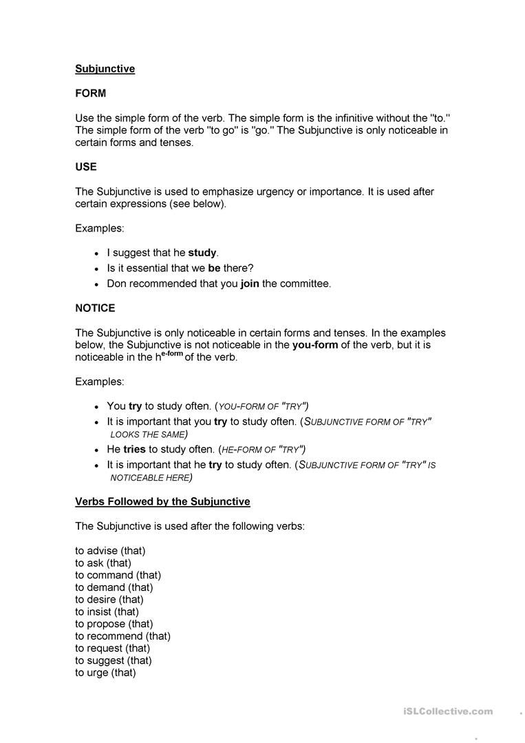 subjuntive simple form Subjunctive mood Pinterest