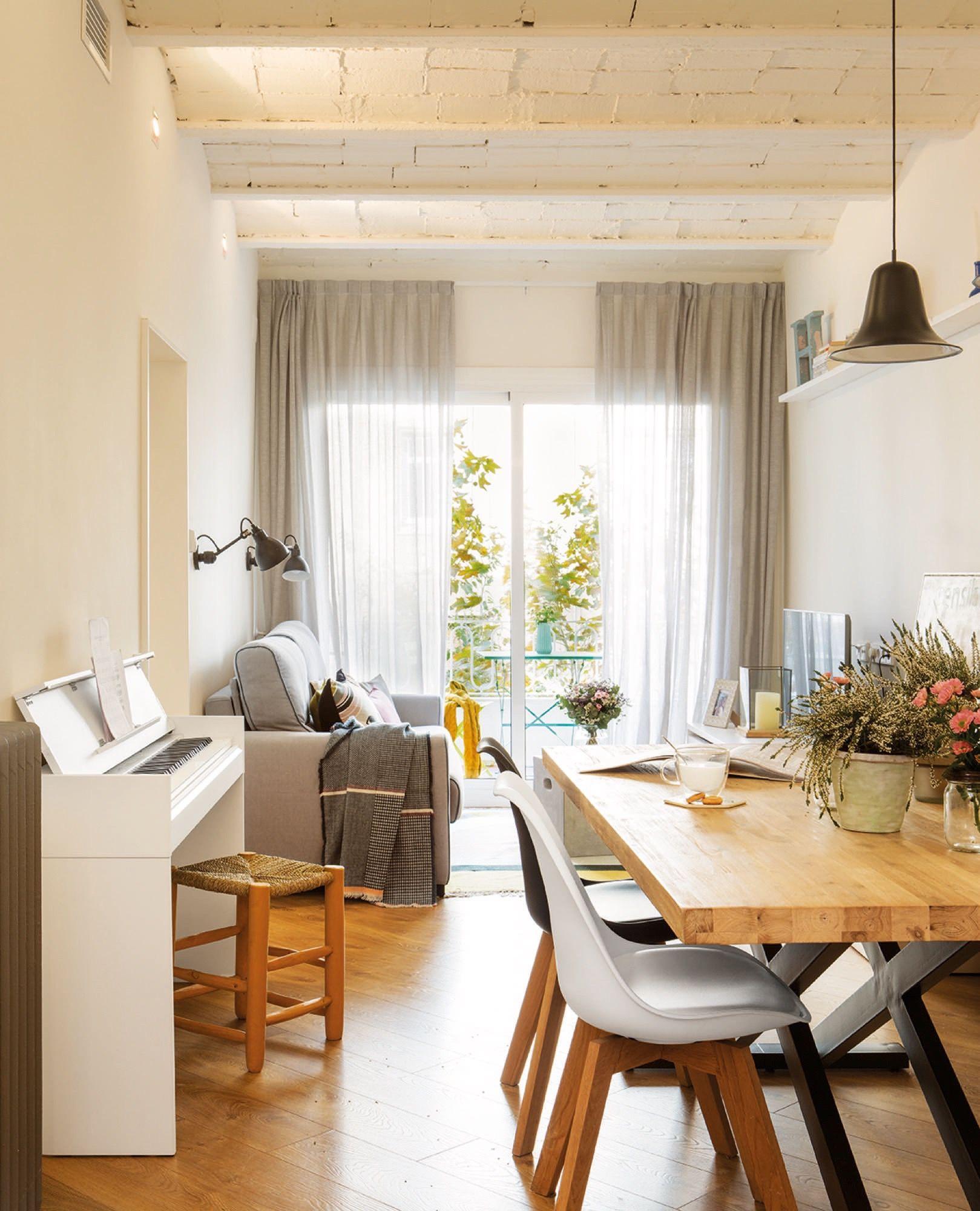 salon comedor en un piso de 80 metros en Barcelona | DaiCasa ...
