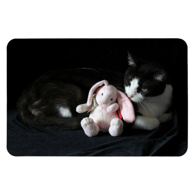 Some Bunny Loves Me Magnet #cat #tuxedo #rescue #bunny #pink