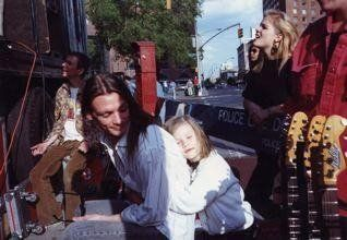 14th Street Rock Against Racism, NYC, 1993 (with daughter, Trixie)