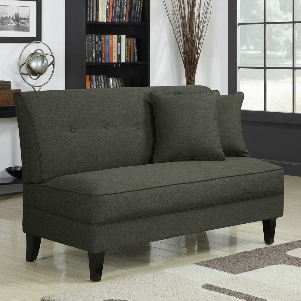 Engle Basil Grey Linen Armless Loveseat 2 Person Sofa Chair Accent Sofa  Chair