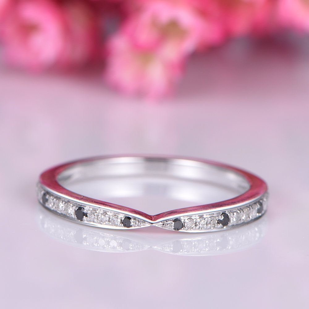 Black diamond wedding band white gold half eternity ring natural ...