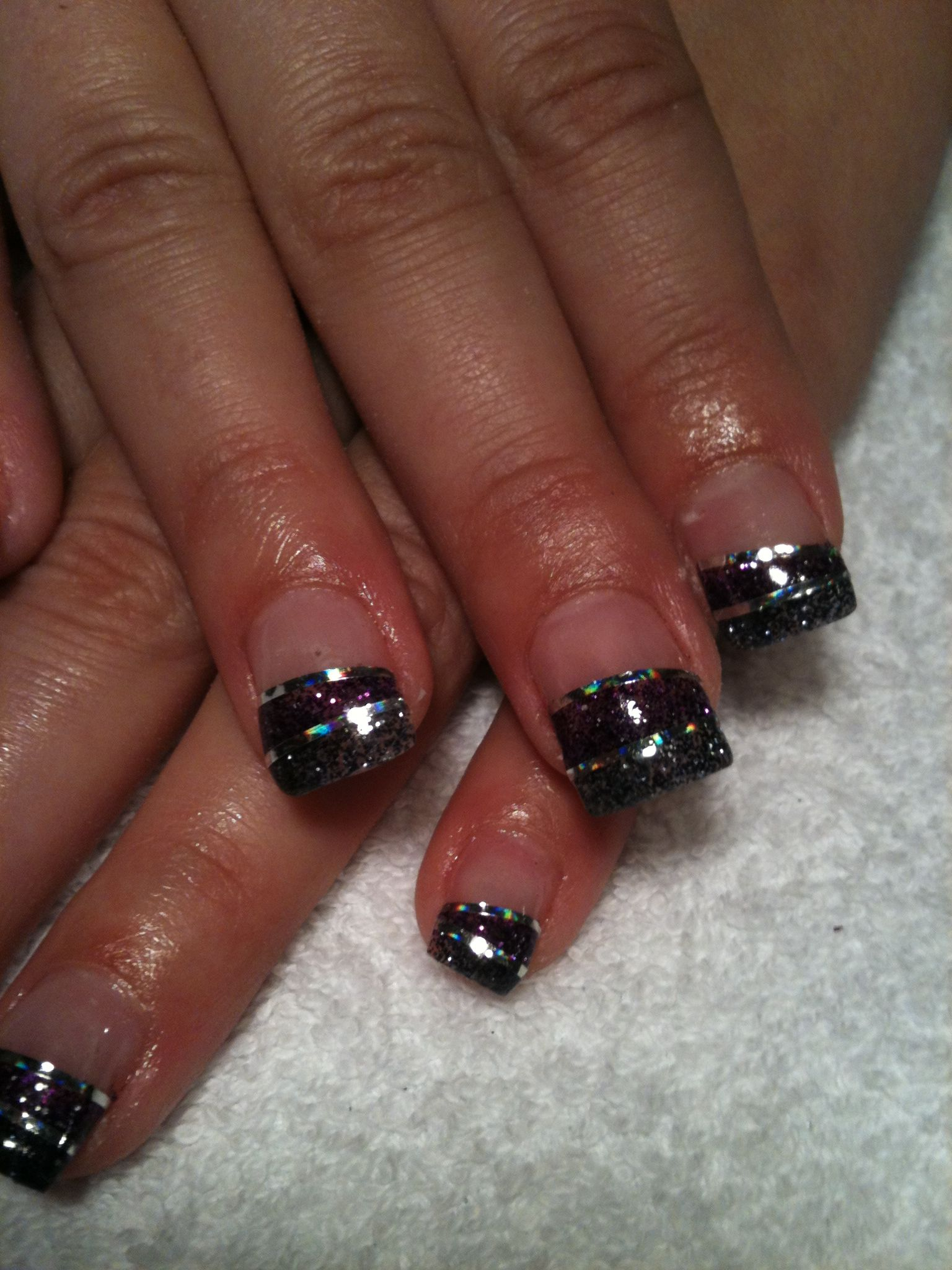 Black and purple glitter with silver nail tape nails pinterest
