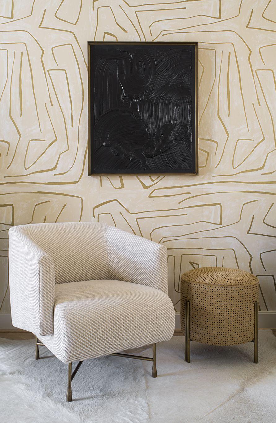 Kelly wearstler graffito wallpaper in ivorygold wall coverings