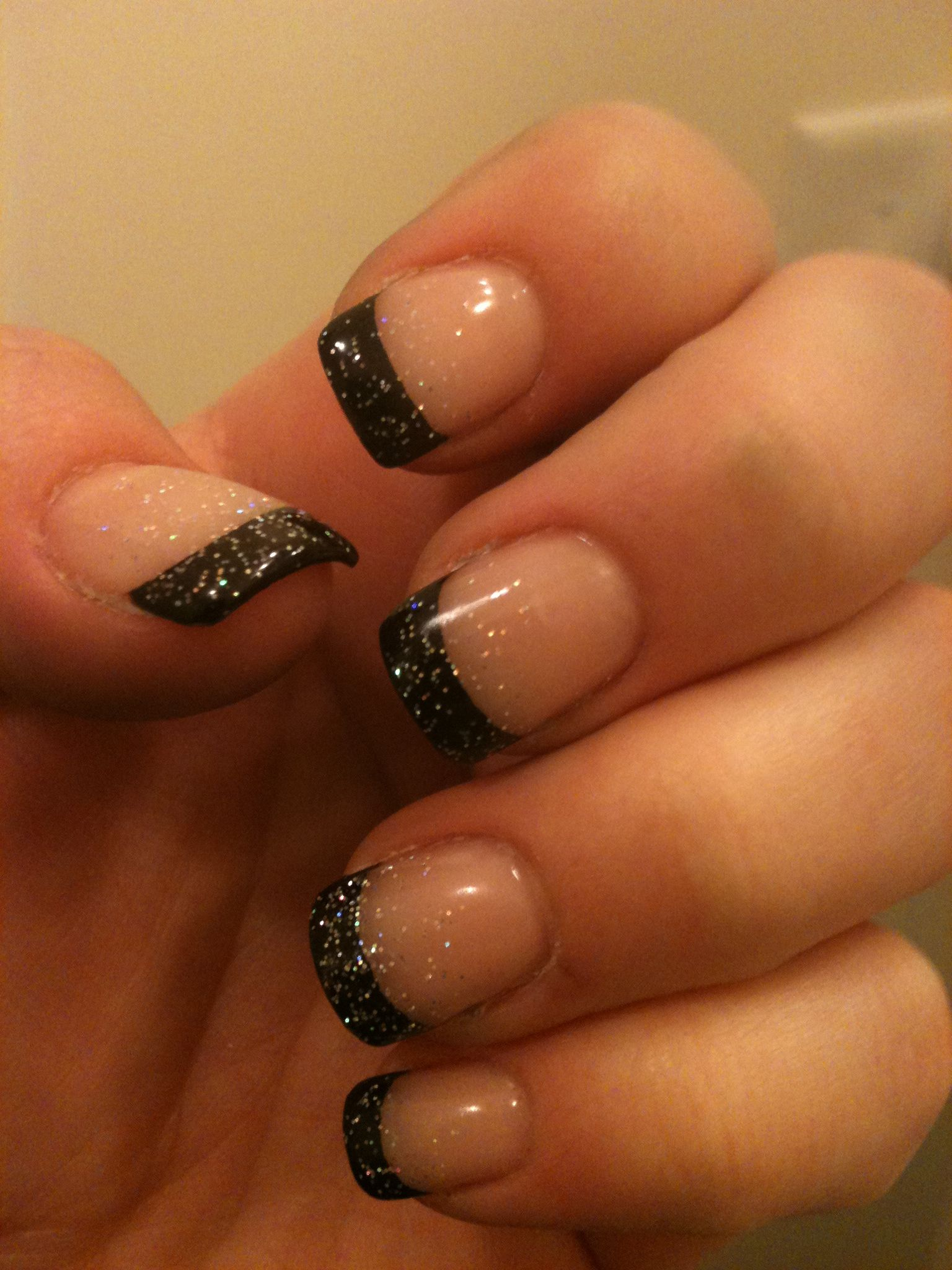 French Black nails with glitter