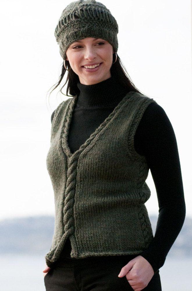 FREE knitting pattern for women\'s Weskit Vest in Cascade 128 ...