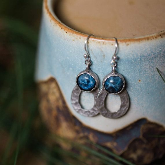 Drops of Rain Earrings - Silver with Blue Sodalite Gemstone - Teardrop Jewelry, Yugen Wild Heart, Natural, Boho, Statement, Dangle