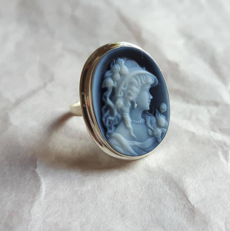 Stone Cameo Ring Blue Agate Stone Cameo Ring Silver Neoclassic Cameo Gift For Her Italian Cameo Ring Lady Profile Cameo Blue Agate Stone Cameo Jewelry Blue Agate