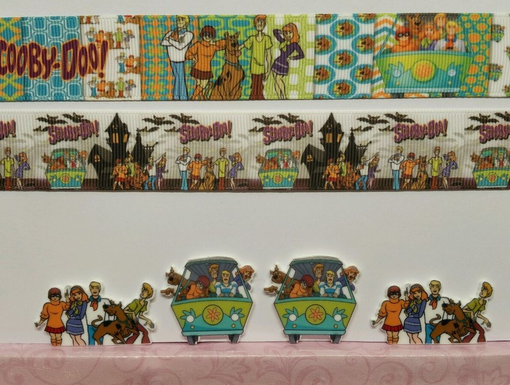 2 Yards 4 Resin Mixed lot Scooby-Doo Inspired Ribbon and Resins #Unbranded