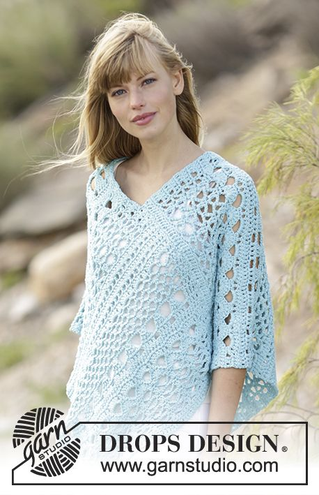 168-13 Sky Love - free crochet poncho pattern with charts from DROPS ...