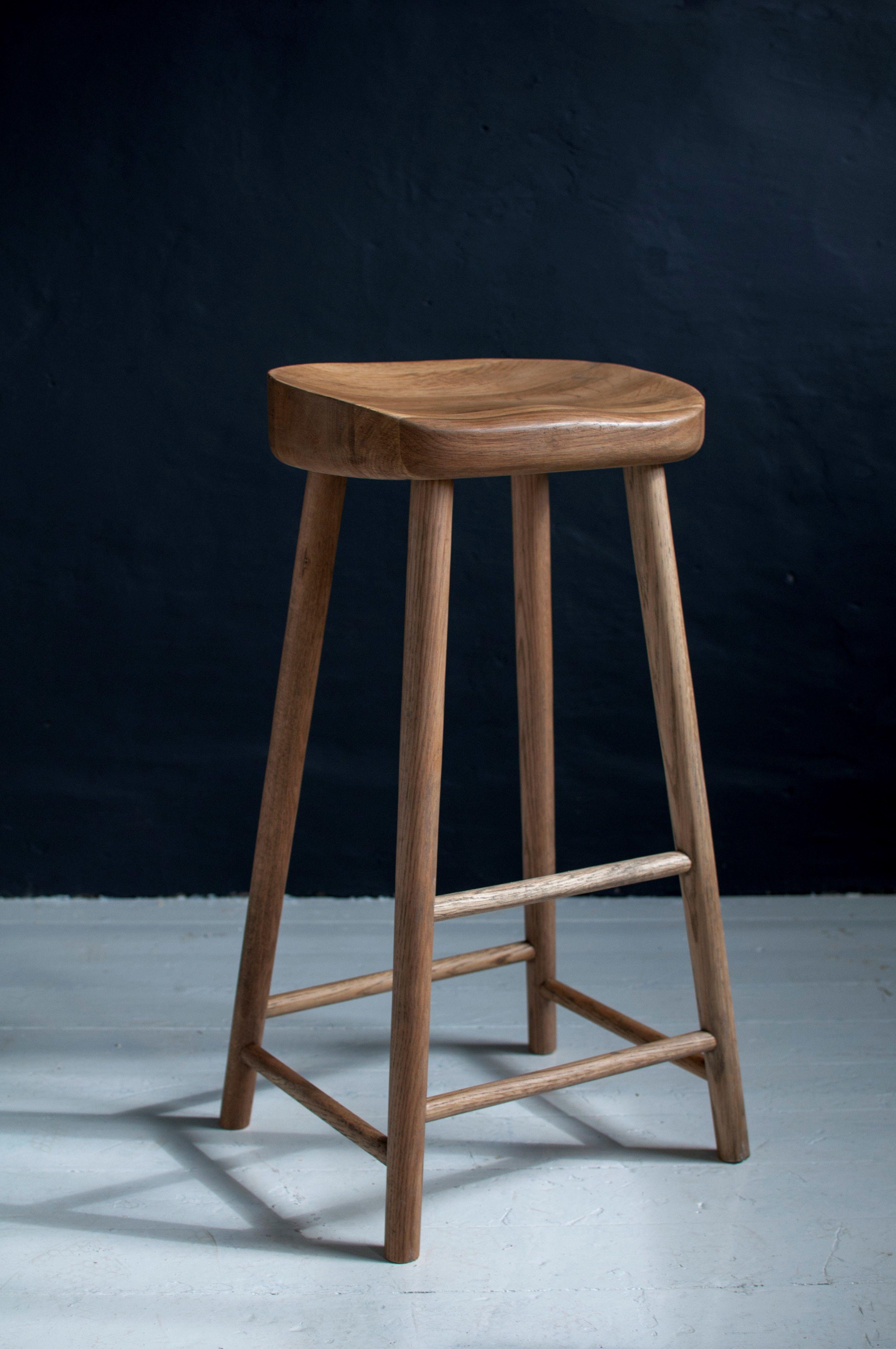 Solid Oak Stool Weathered Oak Bar Stool Breakfast Bar Stool Oak Bar Stools Bar Stools Oak Stool