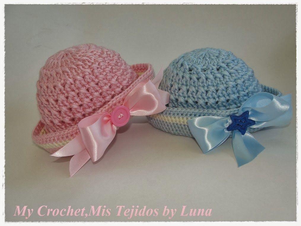 Sailor Newborn Hats and Free Pattern at www.alunamistejidos.com/