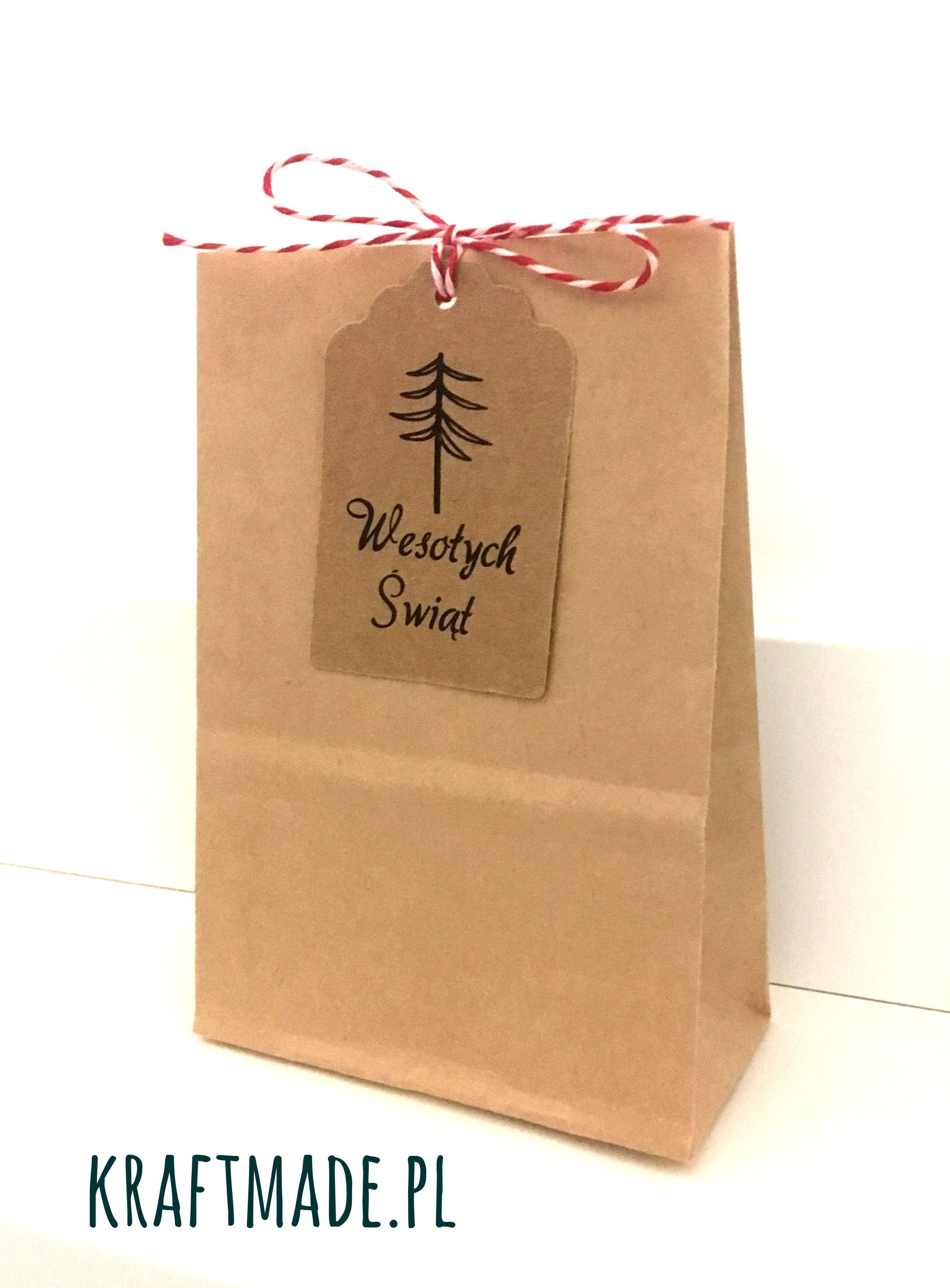 Torebka Papierowa 11 5x8x4 Cm Swiateczna Torebki Christmas Bags Kraft Z Zawieszka Kraft Paper Packaging Kraft Packaging Christmas Packaging