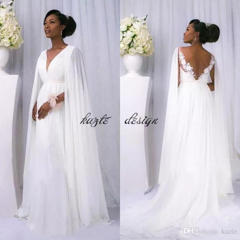 8f3f1a46d97 African 2018 White Chiffon Cape Sleeve Beach Country Wedding Dresses Cheap  Backless V Neck Greek Goddess Beach Bridal Gowns Custom Made Mermaid Wedding  ...