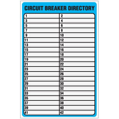 circuit directory template download - circuit breaker directory template checklist