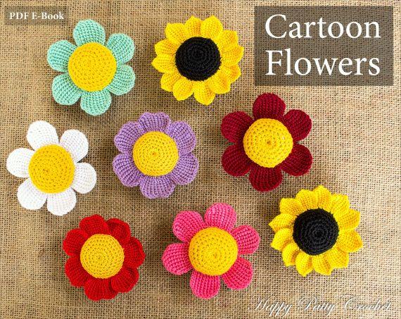 Cartoon flowers patterns crochet daisy sunflower and rose