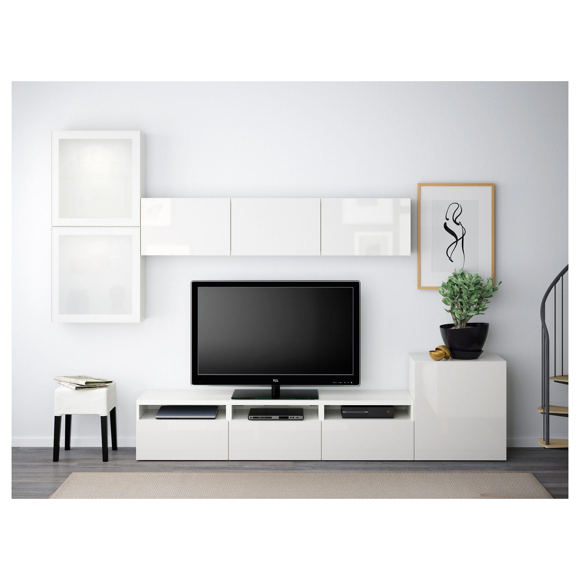 bestÅ tv storage combination/glass doors, white, selsviken high