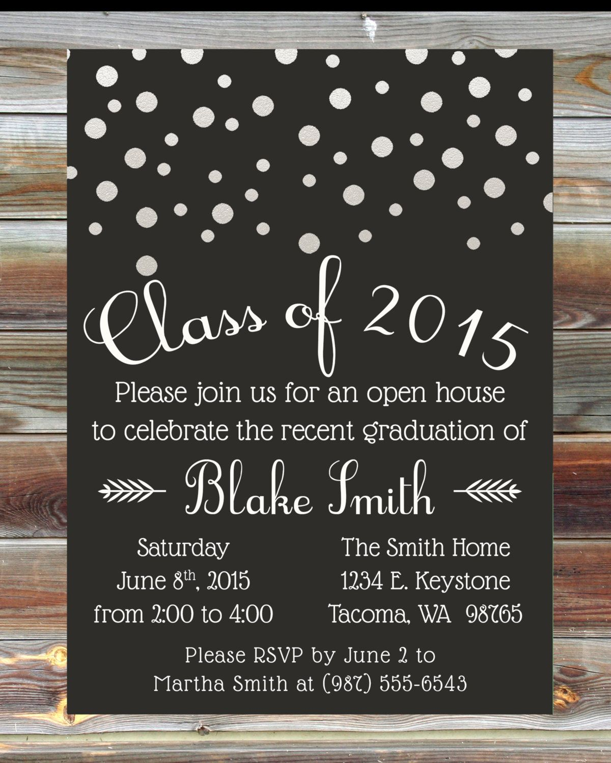 Custom Color Graduation Open House Invitation Champagne Grad Party