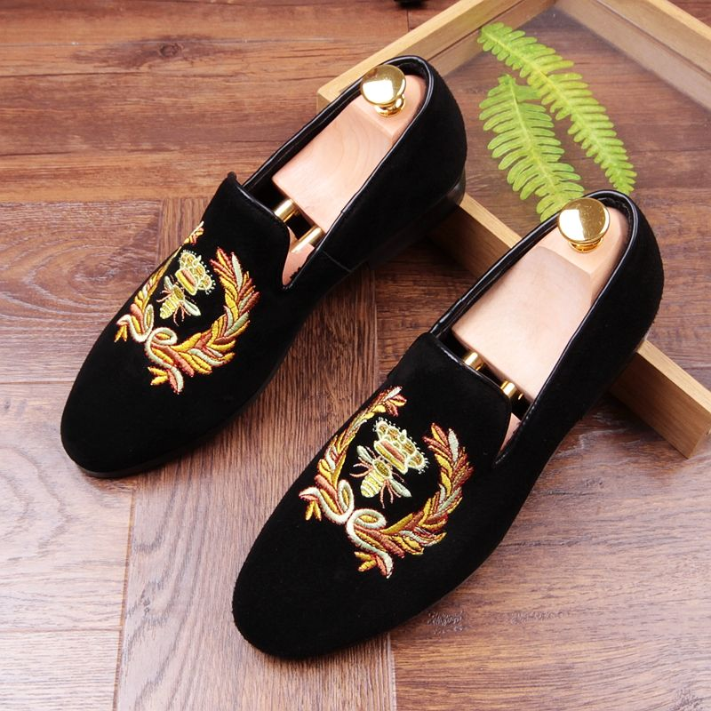 New Men Round Toe Flat Loafer Slip On Floral Driving Shoe Nightclub Fashion New