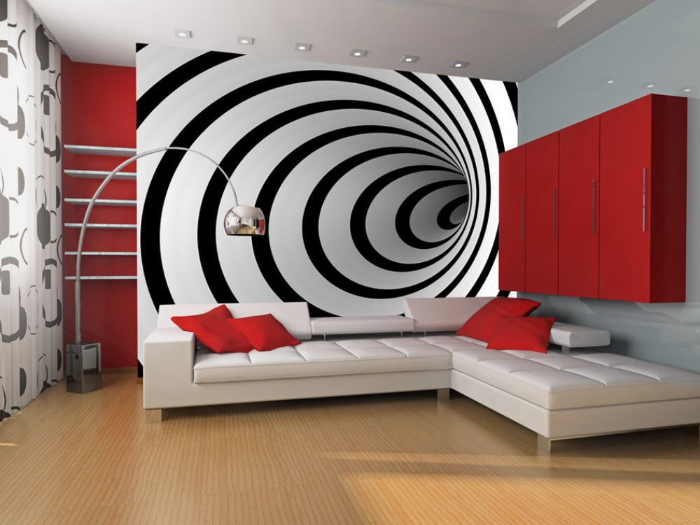 Wall Mural Black And White 3d Tunnel Living Room White Small