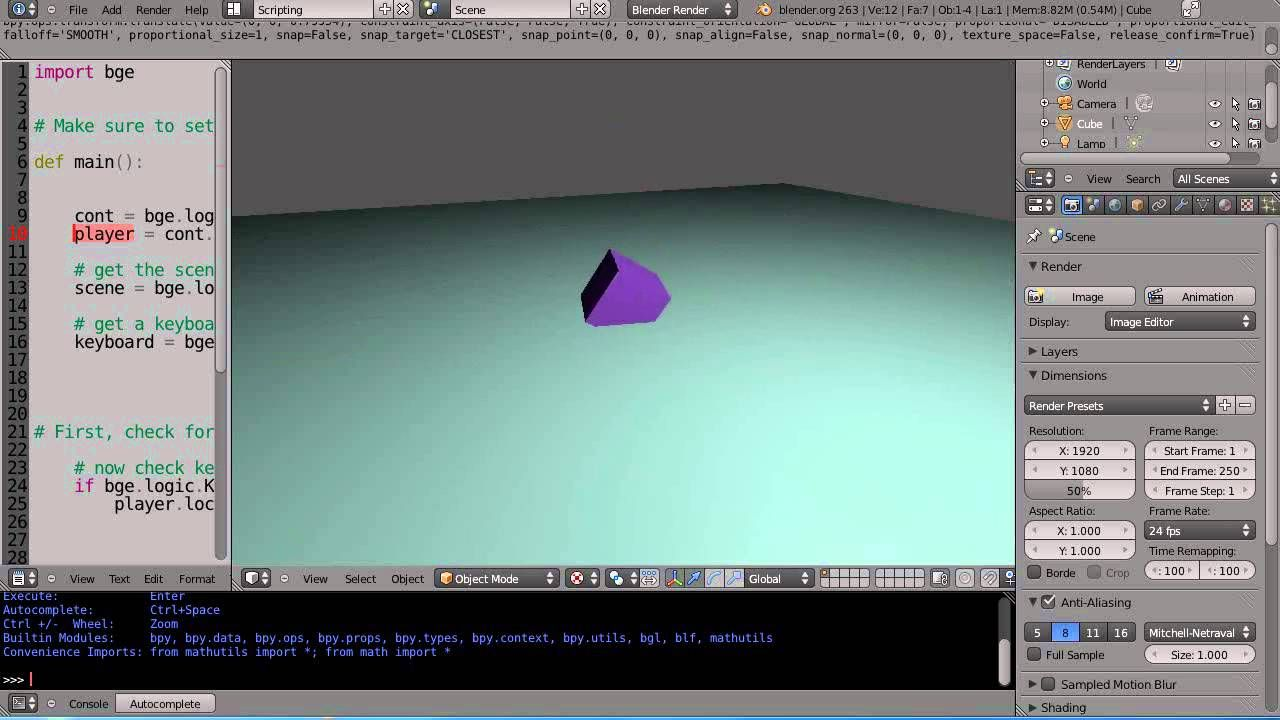 Blender 2.6 Tutorial Python Game Engine Programming