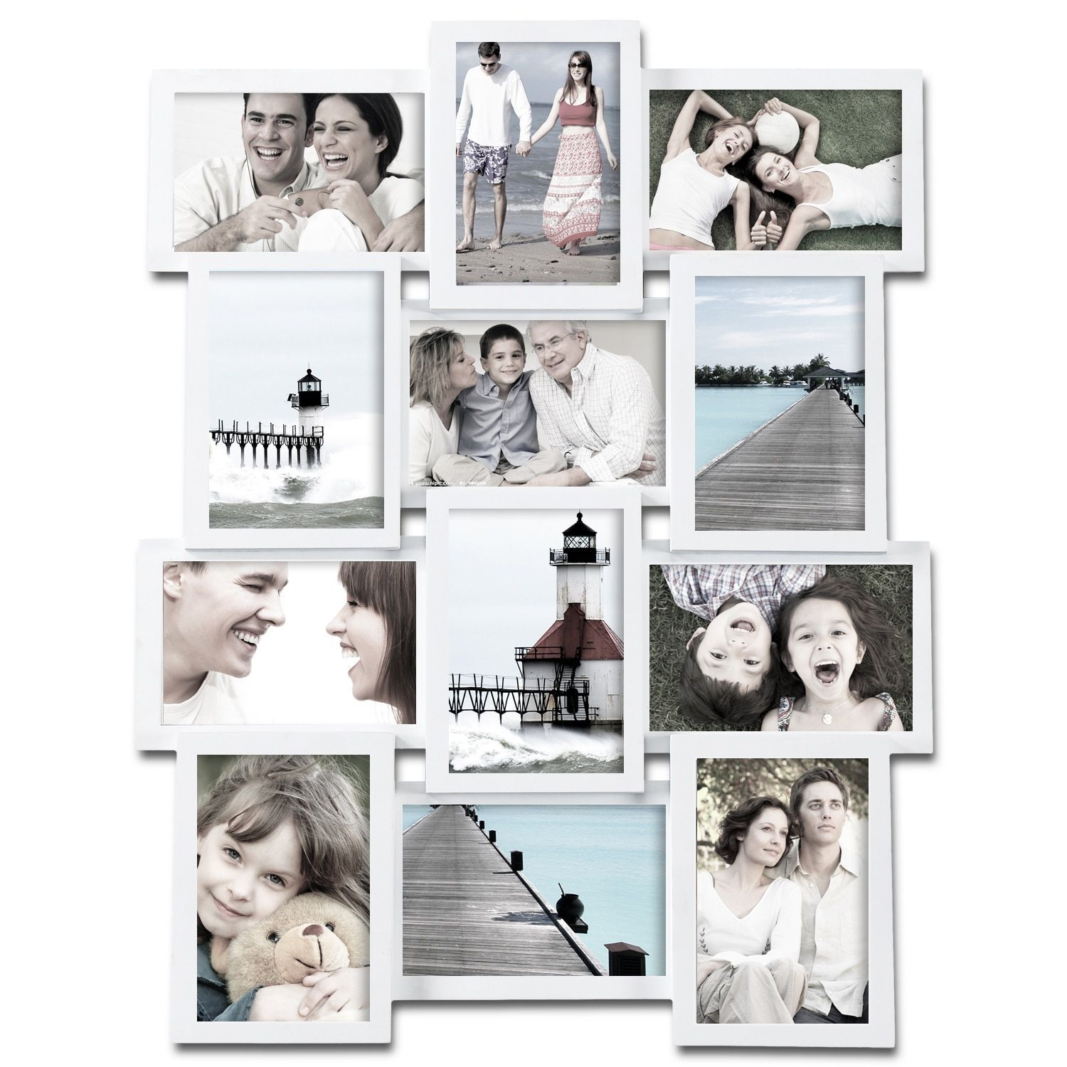 Adeco 12-photo Collage White Wood Picture Frame (Adeco 12-Opening ...