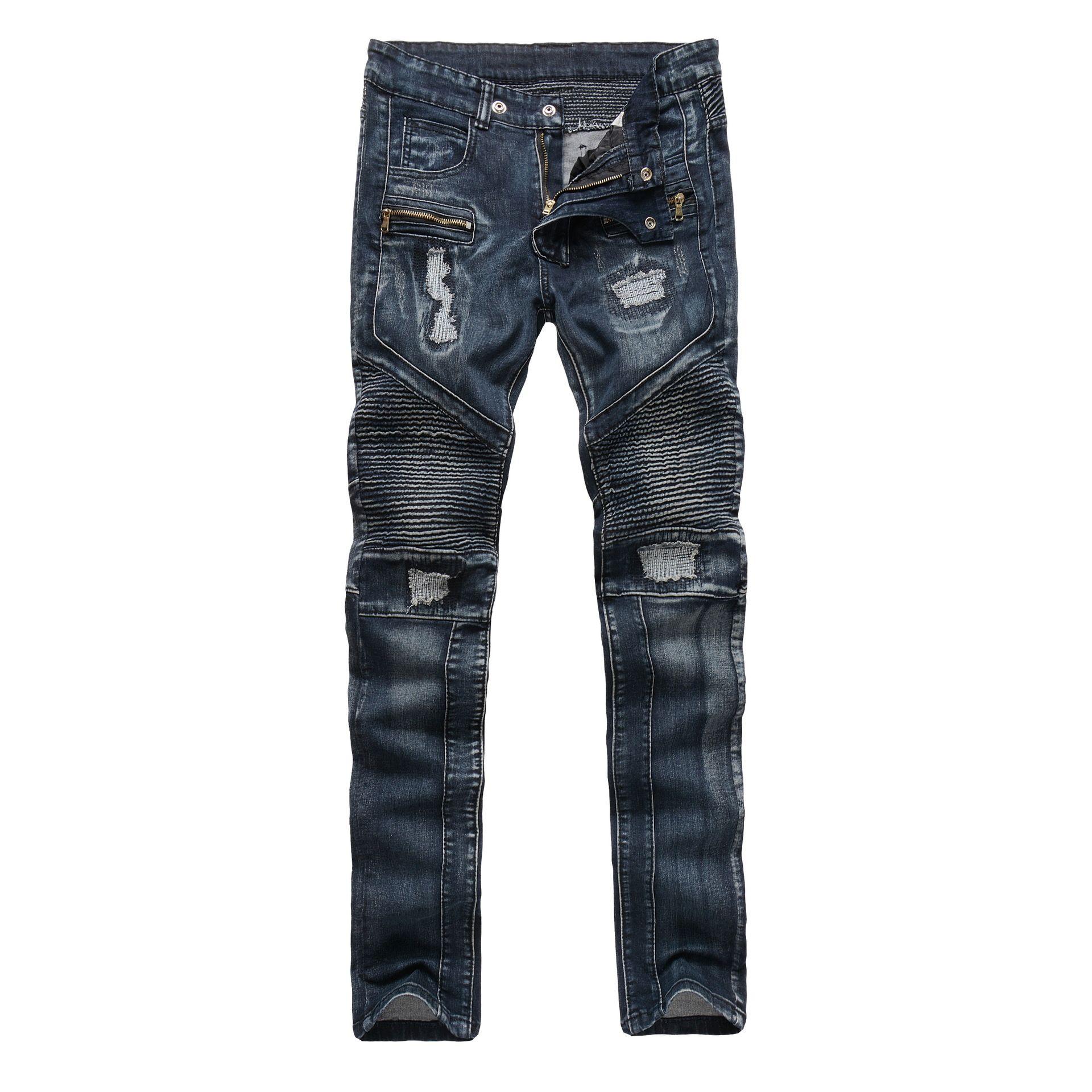 LENSTID Fashion Designer Jeans hombres Swag Hip Hop Biker Jeans Mens Flaco  Slim Fit Plisado Pantalones