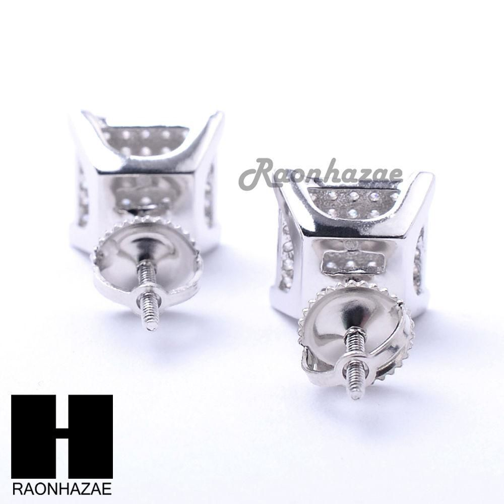 Iced Out Sterling Silver .925 Lab Diamond 9mm Square Screw Back Earring SE035S