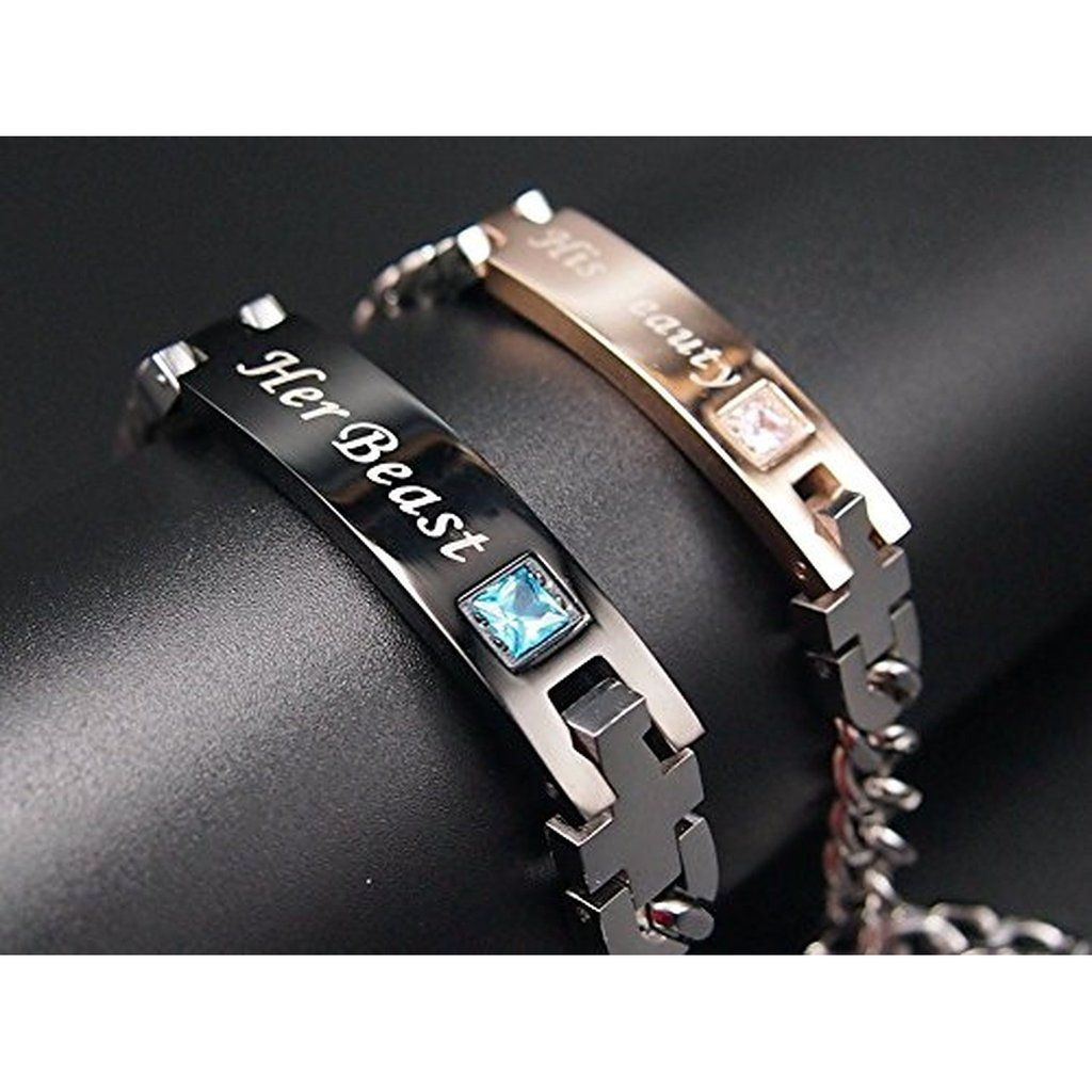 e39af07014 I really need to find my very own Beast.... |His Beauty| and |Her Beast|  Titanium Couple Bracelets