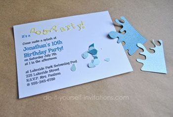 diy pool party invitations Party ideas Pinterest Pool party