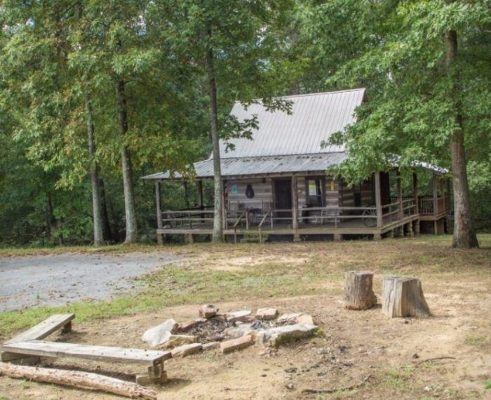 a log cabin at french creek state park pennsylvania tent camping