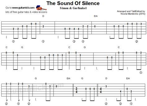 the sound of silence easy guitar tablature guitar guitar easy guitar tabs easy guitar. Black Bedroom Furniture Sets. Home Design Ideas